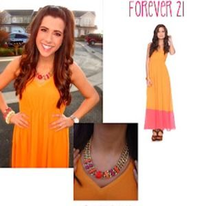 Dresses & Skirts - Pink & Orange Color Block Maxi dress!
