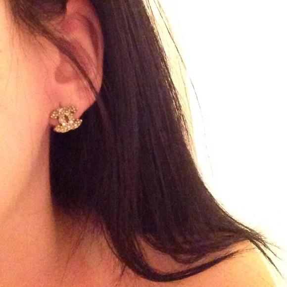 chanel earrings price. chanel jewelry - temp price cut authentic chanel gold logo earrings price