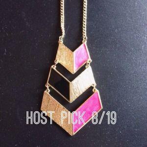 🎉HOST PICK🎉Pink/Black Chevron Necklace