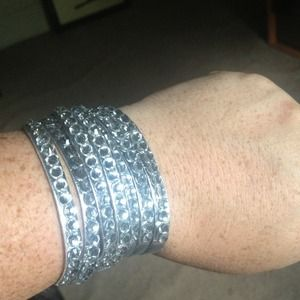 Rhinestone leather wrap bracelet