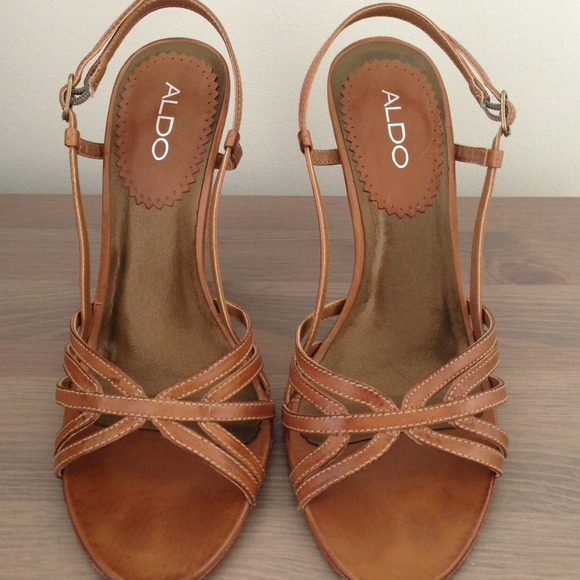 91% off ALDO Shoes - Tan leather strappy stiletto heels from ...