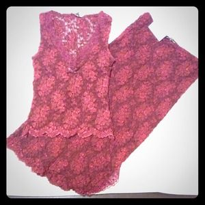 Ann Ferriday Red Lace Top and Skirt Floral Print