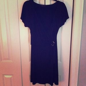 BCBG Black V-Neck Faux Wrap Dress