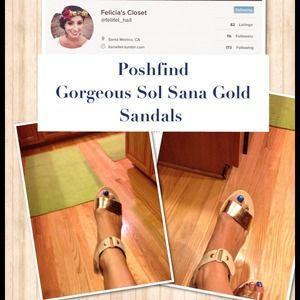 POSHFIND Gorgeous Sol Sana Gold Sandals