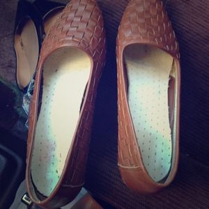 Vintage brown woven loafers.