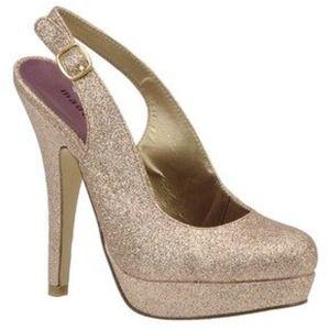 Madden Girl Sookiee Gold Glitter Slingback Heels