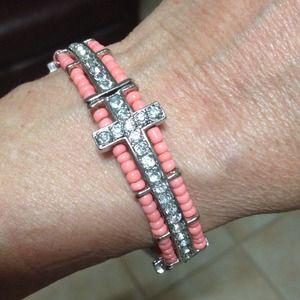 Jewelry - Crystal Beaded Cross bracelet