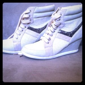 Cream suede and snake skin sneakers with a wedge!