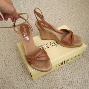 Cathy jean tan cork wedges