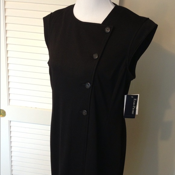 31fb0666c46 RESERVED Evan-Picone Black Shift Dress Asian Style