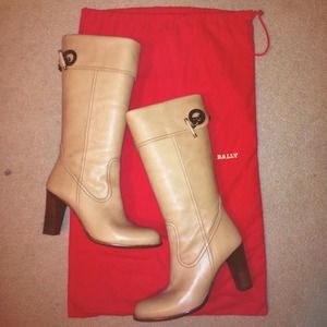 REDUCEDBALLY Taupe Leather Tall Boots