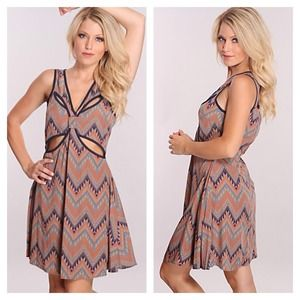 Chevron Printed Cut Out Dress