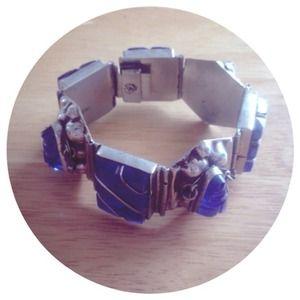 Jewelry - 🚫SOLD🚫Blue Glass & Sterling Bracelet