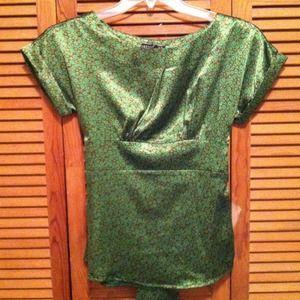 Green-brown satin blouse