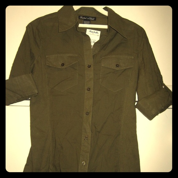 Tops Olive Green Button Down Shirt Poshmark