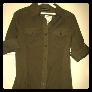 Tops - Olive Green Button Down Shirt