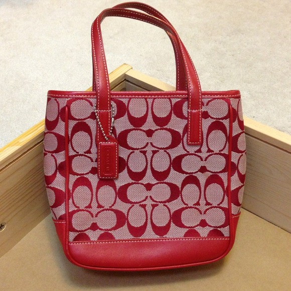 Sold Red Coach Handbag/Mini Tote Lunch Bag