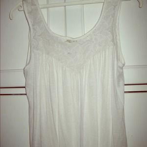 Tops - White Tank with Lace Detail