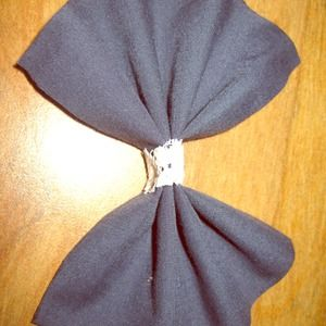 Accessories - Blue Hair Bow with Lace