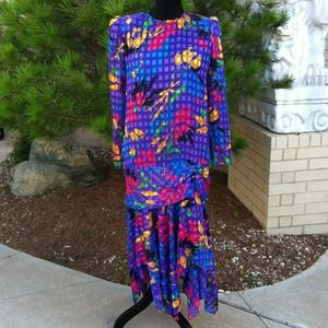 Vibrant Vintage Lori Max Drop Waist Party Dress
