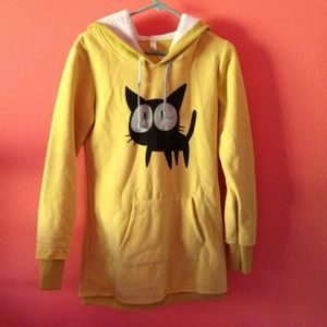 Outerwear - Yellow Pullover Hoodie w/ Black Kitty