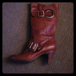 BCBG brown leather boots w/ gold buckles 