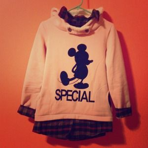 Outerwear - Pink Pullover Hoodie w/ Mickey Mouse Figure