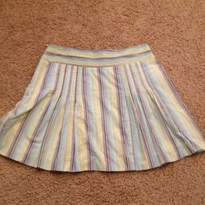 J Crew Blue Green Yellow Cream Stripe Skirt Size 8