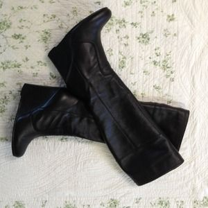 Shoes - Black leather wedge boots