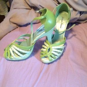 Lime green peep toe