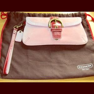COACH wristlet - Pink Suede and Leather