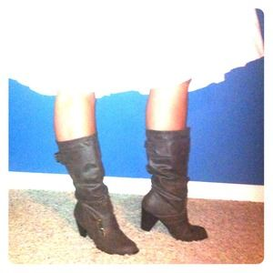 Stretchy, slide-on faux leather boots