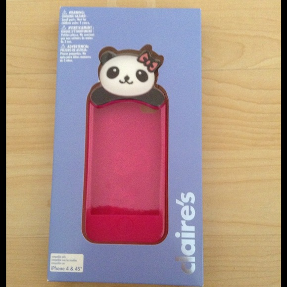 save off ff8b5 7e2cf Cute panda pink iPhone 4,4S silicone case Claires NWT