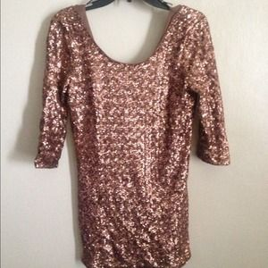 Forever 21 Dresses & Skirts - Forever 21 Sequin Rose Gold Dress Size M