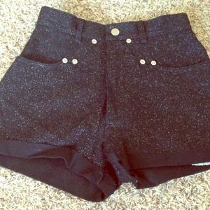Black sparkle custom high waisted shorts
