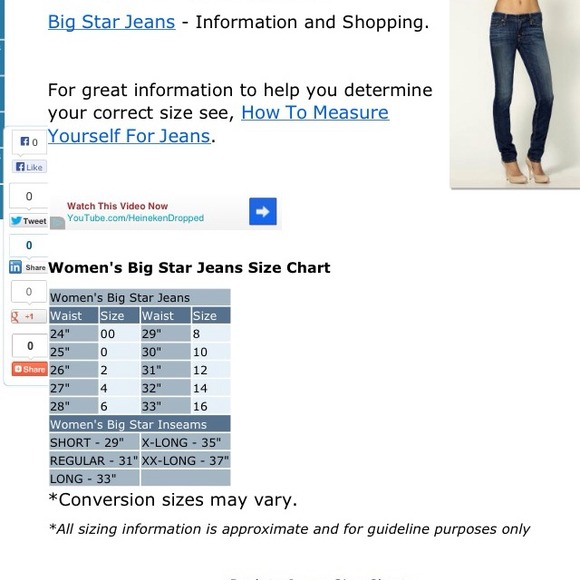 Big star jeans size chart big star jeans size chart length big
