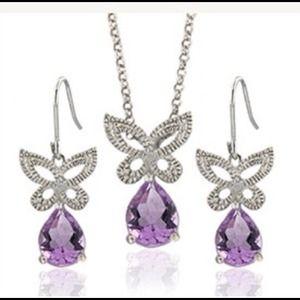 Jewelry - 💜💜New Sterling Silver Butterfly/Genuine Amethyst