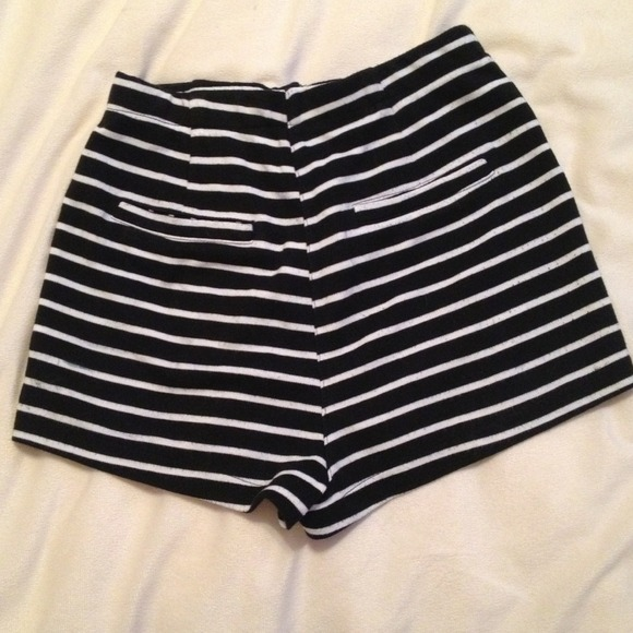 73% off Lush Pants - High-Waisted Black & White Striped Shorts ...