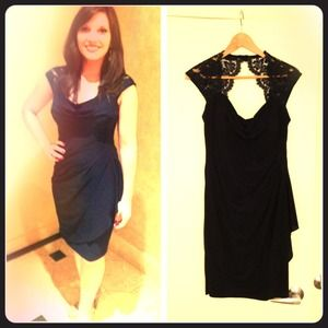 Navy Cocktail Dress with Lace, size 6P