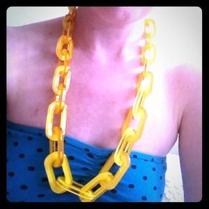 Yellow acrylic nautical chain link necklace
