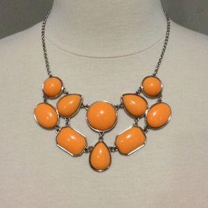 Bright peach statement necklace