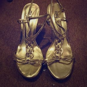 "Bakers ""Patricia"" metallic rhinestone sandals"