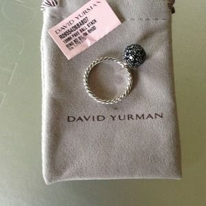 David Yurman 10mm Black Diamond Pave ball ring
