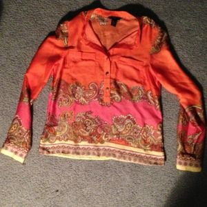 H&M orange paisley blouse 6