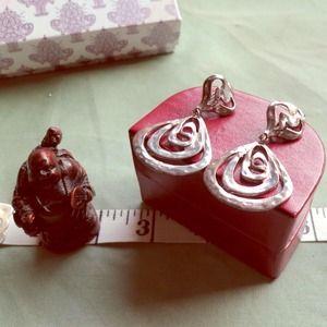 Vintage .925 Silver Drop Dangle Earrings Clip-On