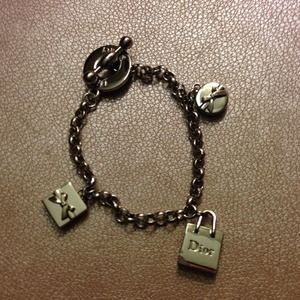AUTHENTIC Christian Dior silver charm bracelet