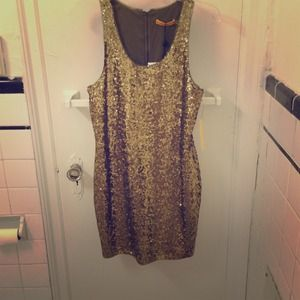 ⬇️Alice + Olivia gold sequin dress