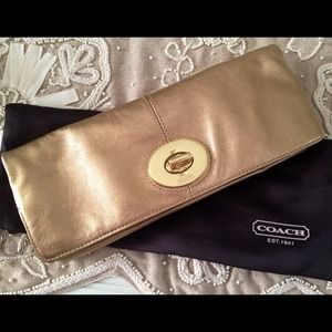 Coach Clutches & Wallets - 100% Authentic Coach Gold Clutch