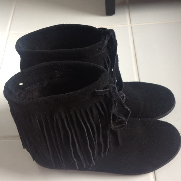 Nine West - Black suede fringe ankle boots from H's closet on Poshmark