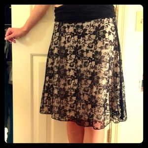 Black lace over cream skirt!